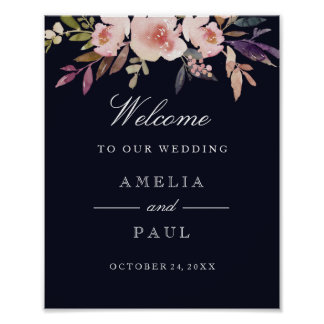 Welcome Wedding Sign Navy Pink Watercolor Peonies Poster