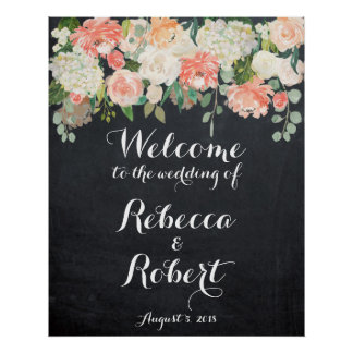 Welcome wedding sign peach ivory floral chalkboard
