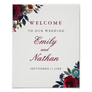 Welcome Wedding Sign Red Burgundy Floral