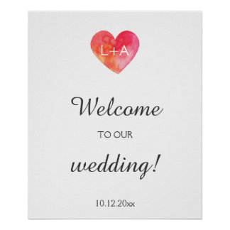 Welcome wedding sign, watercolor heart, initials poster