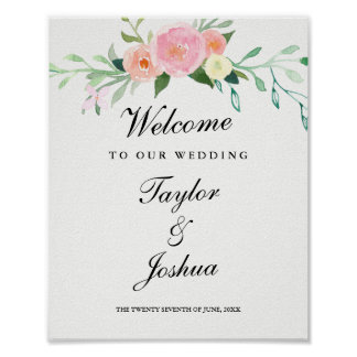 Welcome Wedding Sign Watercolor Wildflower Poster