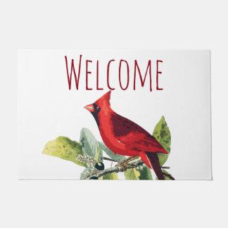 Welcome Winter Cardinal Doormat