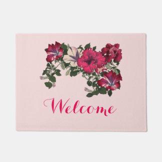 """Welcome"" with Ruffled Pink Petunias Vintage Image Doormat"