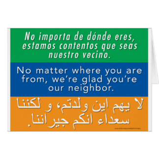 Welcome Your Neighbors - Spanish English Arabic Card