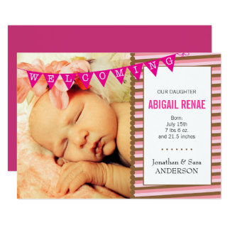 Welcoming Baby Girl Photo Birth Announcement