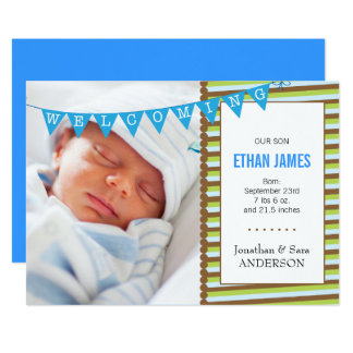 Welcoming New Baby Boy Photo Announcement