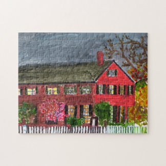 Welcoming red house jigsaw puzzle