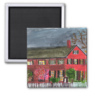 Welcoming red house magnet