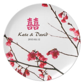 Welcoming Spring Red Sakura Personalized Wedding Dinner Plate