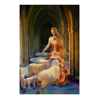 Welcoming the Lambs Fine Art Print