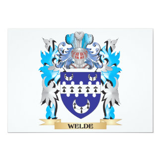 """Welde Coat of Arms - Family Crest 5"""" X 7"""" Invitation Card"""