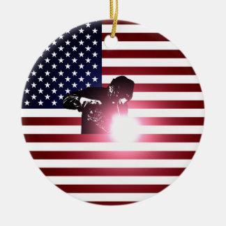 Welder and American Flag Ceramic Ornament