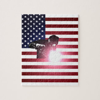 Welder and American Flag Jigsaw Puzzle