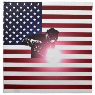 Welder and American Flag Napkin