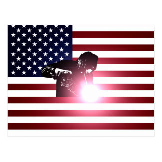 Welder and American Flag Postcard
