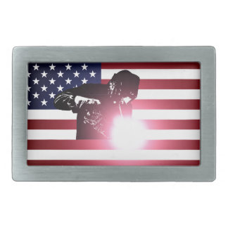 Welder and American Flag Rectangular Belt Buckle
