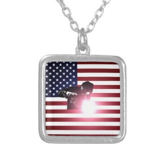 Welder and American Flag Silver Plated Necklace