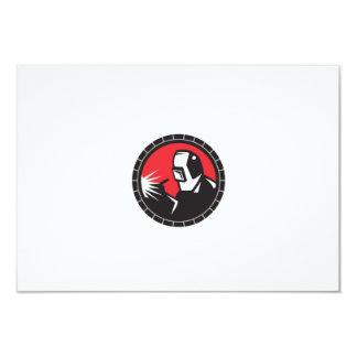 "Welder Arc Welding Circle Retro 3.5"" X 5"" Invitation Card"