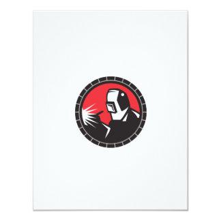 "Welder Arc Welding Circle Retro 4.25"" X 5.5"" Invitation Card"