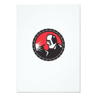 "Welder Arc Welding Circle Retro 4.5"" X 6.25"" Invitation Card"