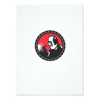 "Welder Arc Welding Circle Retro 5.5"" X 7.5"" Invitation Card"