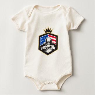 Welder Arc Welding USA Flag Crest Retro Baby Bodysuit