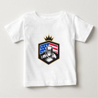 Welder Arc Welding USA Flag Crest Retro Baby T-Shirt