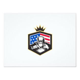 Welder Arc Welding USA Flag Crest Retro Card