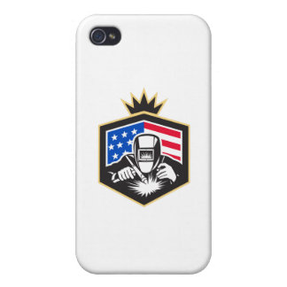 Welder Arc Welding USA Flag Crest Retro Case For The iPhone 4