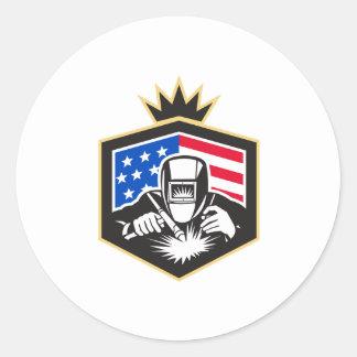 Welder Arc Welding USA Flag Crest Retro Classic Round Sticker