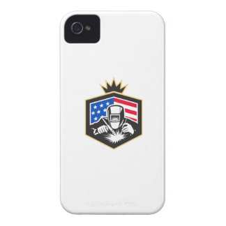 Welder Arc Welding USA Flag Crest Retro iPhone 4 Covers