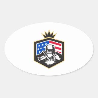 Welder Arc Welding USA Flag Crest Retro Oval Sticker