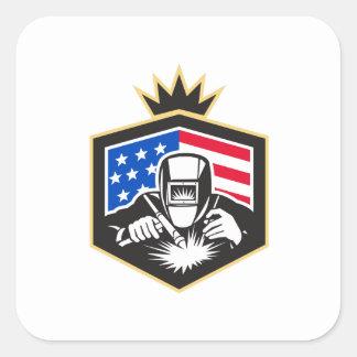 Welder Arc Welding USA Flag Crest Retro Square Sticker