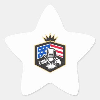 Welder Arc Welding USA Flag Crest Retro Star Sticker