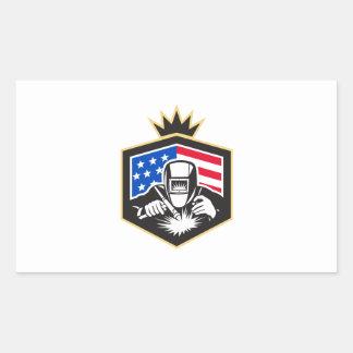Welder Arc Welding USA Flag Crest Retro Sticker