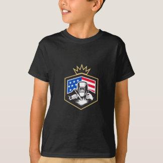 Welder Arc Welding USA Flag Crest Retro T-Shirt