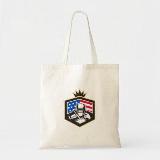 Welder Arc Welding USA Flag Crest Retro Tote Bag