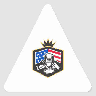 Welder Arc Welding USA Flag Crest Retro Triangle Sticker
