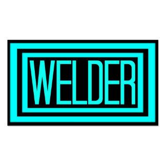 Welder Black and Teal Matted Frame Business Card
