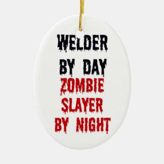 Welder By Day Zombie Slayer By Night Ceramic Oval Ornament