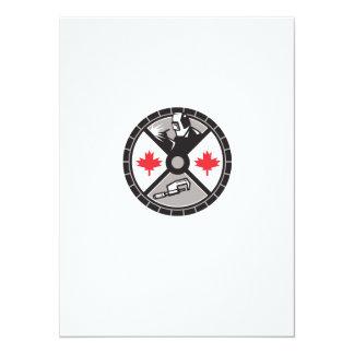 "Welder Caliper Maple Leaf Circle Retro 5.5"" X 7.5"" Invitation Card"