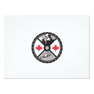 "Welder Caliper Maple Leaf Circle Retro 6.5"" X 8.75"" Invitation Card"