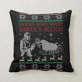 Welder Christmas Throw Pillow