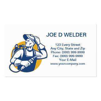 Welder Fabricator Welding Retro business card Pack Of Standard Business Cards