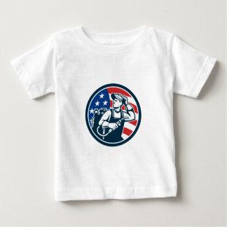 Welder Looking Side USA Flag Circle Retro Baby T-Shirt