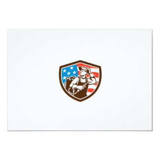 "Welder Looking Side USA Flag Crest Retro 3.5"" X 5"" Invitation Card"