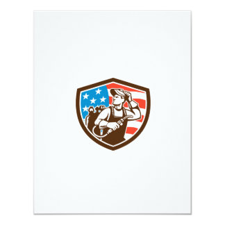 "Welder Looking Side USA Flag Crest Retro 4.25"" X 5.5"" Invitation Card"