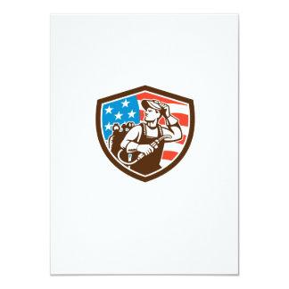 "Welder Looking Side USA Flag Crest Retro 4.5"" X 6.25"" Invitation Card"