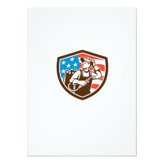 "Welder Looking Side USA Flag Crest Retro 5.5"" X 7.5"" Invitation Card"