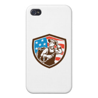 Welder Looking Side USA Flag Crest Retro iPhone 4 Cover
